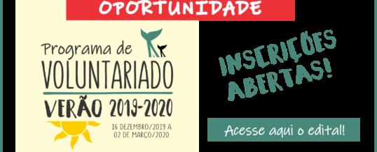 INSCRIÇÕES ABERTAS – VOLUNTARIADO VERÃO 2019-2020