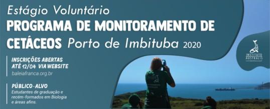 ABERTA SELEÇÃO PARA O PROGRAMA DE VOLUNTARIADO PROGRAMA DE MONITORAMENTO DE CETÁCEOS – PORTO DE IMBITUBA 2020